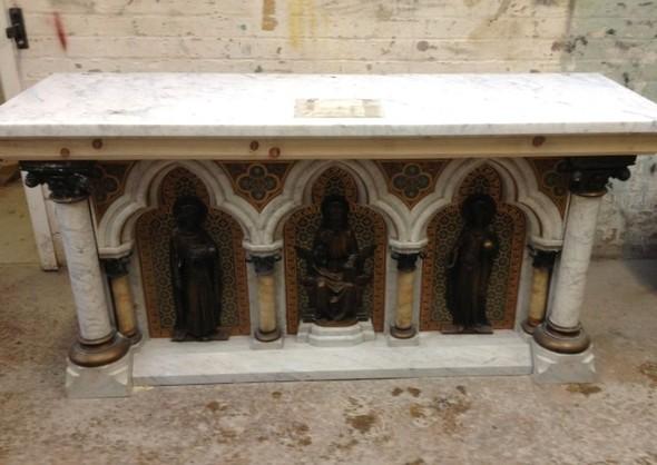 Dismantling church altar