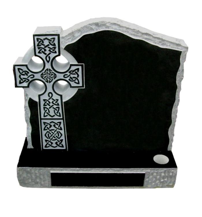 Rustic black granite celtic cross memorial
